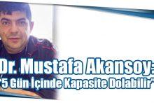 """Photo of Dr. Mustafa Akansoy: """"5 Gün İçinde Kapasite Dolabilir"""""""